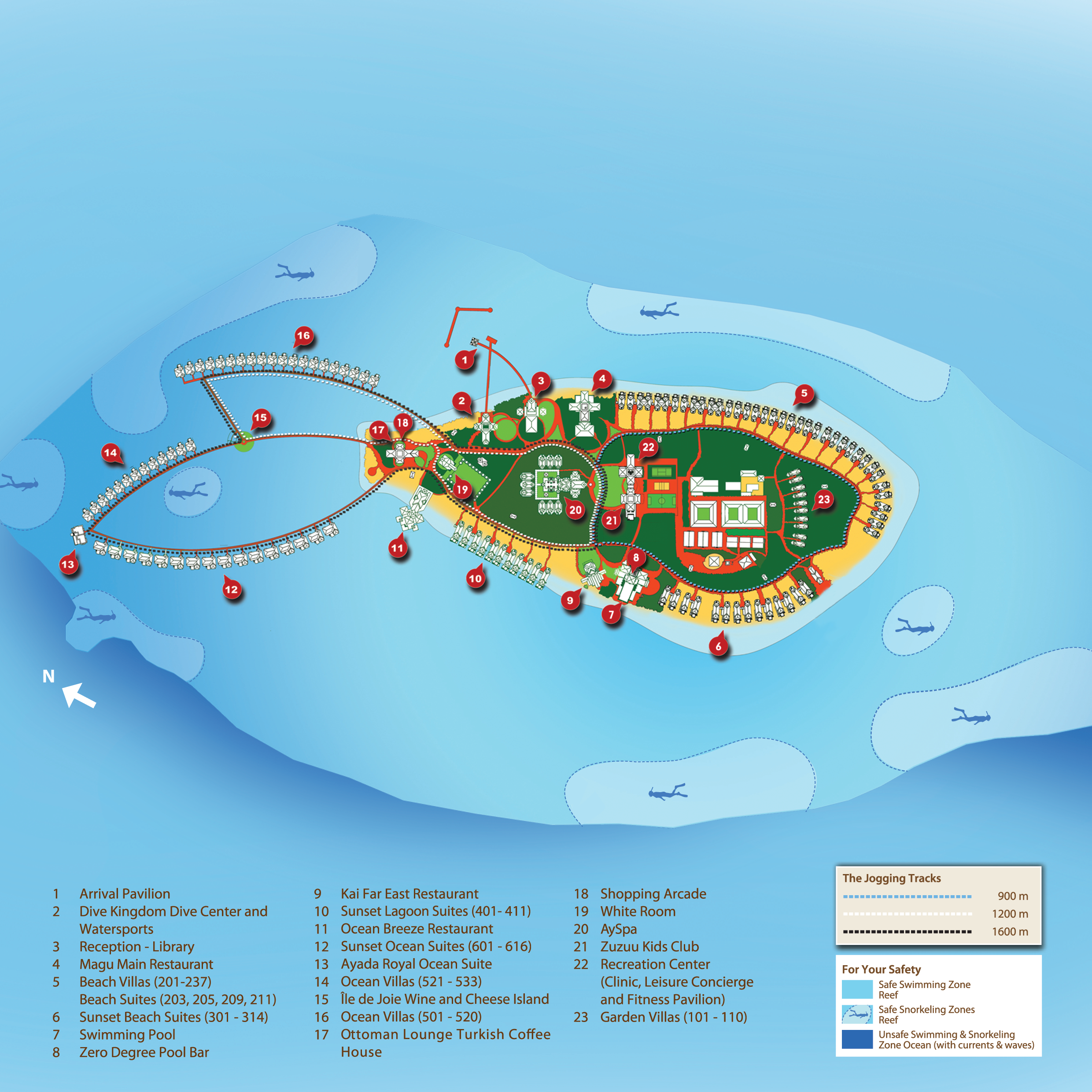 AYADA Maldives Island Map And Floorplans Rooms